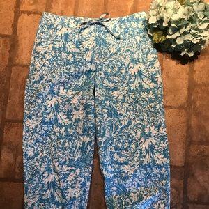 Talbots stretch Capri blue/white print Siz…